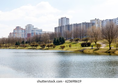 Park in the center of the city in the early spring in warm sunny weather