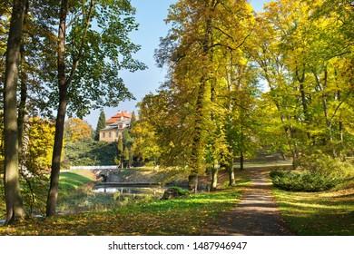 Park and Chateau Krasny Dvur in autumn season.