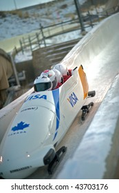 PARK CITY - DECEMBER 5: The Canadian Bobsled team competes in the America's Cup Bobsled Races December 5, 2009 in Park City, Utah.