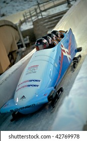 PARK CITY - DECEMBER 5: The Slovakia Bobsled Team competes in the America's Cup Bobsled Races December 5, 2009 in Park City, Utah.