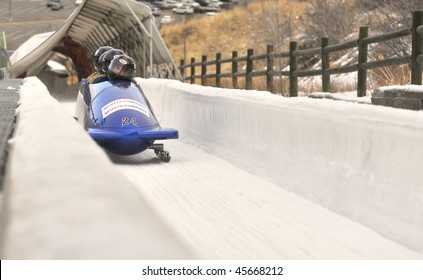 PARK CITY - DECEMBER 5: Team Italy competes at the America's Cup Bobsled Races in Park City  December 5, 2009 in Park City, Utah.