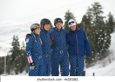 PARK CITY, FEBRUARY 6, 2010: USA Women from the Olympic Freestyle Skiing Team take a break from trainng for the upcoming games in Vancouver, February 6, 2010 in Park City, Utah.