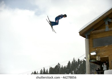 PARK CITY - FEBRUARY 6: USA Olympic Freestyle Skiing Team trains for the upcoming games in Vancouver, February 6, 2010 in Park City, Utah.