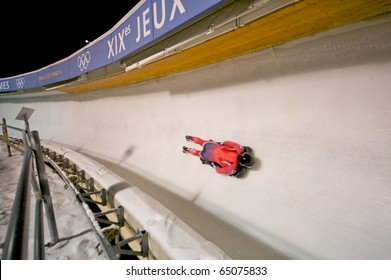 PARK CITY, NOVEMBER 9: An unidentified athlete takes a practice run in preparation for America's Cup Skeleton race  November 9, 2010 in Park City, Utah.