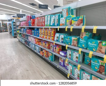 Park City, UT, 12/28/2018: Baby diapers on the shelves of a Walgreens drug store.