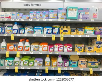 Park City, UT, 12/28/2018: Various baby formula packages on the shelves of a Walgreens drug store.