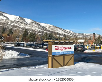 Park City, UT, 12/28/2018: Walgreens pharmacy sign on the parking lot in front of the drug store.