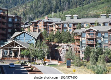 PARK CITY, UT - AUG 27: Park City in Utah, as seen on Aug 27, 2017. The tourist population here greatly exceeds the number of permanent residents.