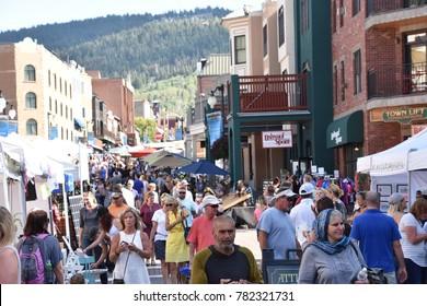 PARK CITY, UT - AUG 27: Park Silly Sunday Market in Park City, Utah, as seen on Aug 27, 2017. It is an eco-friendly open air market, street festival & community forum.