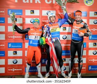 PARK CITY, UT - DEC 12: American Chris Mazdzer (middle) wins the FIL Viessmann Luge World Cup in Park City, UT on December 12, 2015
