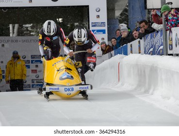 PARK CITY, UT - JAN 15: Team Germany II at the BMW IBSF Women Bobsleigh World Cup in Park City, UT on January 15, 2016