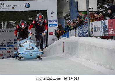 PARK CITY, UT - JAN 15: Team Canada wins the BMW IBSF Women Bobsleigh World Cup in Park City, UT on January 15, 2016