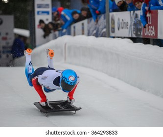 PARK CITY, UT - JAN 16: Alexander Mutovin at the BMW IBSF Skeleton World Cup in Park City, UT on January 16, 2016