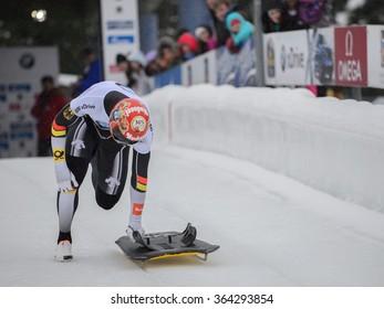 PARK CITY, UT - JAN 16: Michael Zachrau at the BMW IBSF Skeleton World Cup in Park City, UT on January 16, 2016