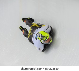 PARK CITY, UT - JAN 16: Ander Mirabell at the BMW IBSF Skeleton World Cup in Park City, UT on January 16, 2016