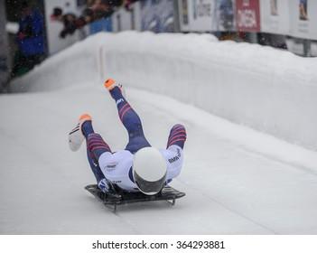 PARK CITY, UT - JAN 16: Matthew Antoine at the BMW IBSF Skeleton World Cup in Park City, UT on January 16, 2016