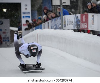 PARK CITY, UT - JAN 16: Tomass Dukurs at the BMW IBSF Skeleton World Cup in Park City, UT on January 16, 2016