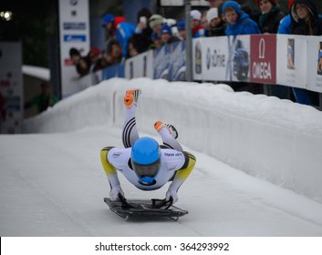 PARK CITY, UT - JAN 16: Rhys Thornbury at the BMW IBSF Skeleton World Cup in Park City, UT on January 16, 2016