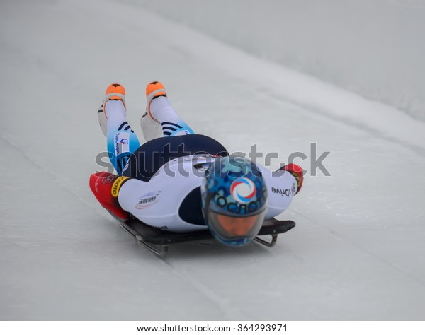 PARK CITY, UT - JAN 16: Sergei Chudinov at the BMW IBSF Skeleton World Cup in Park City, UT on January 16, 2016