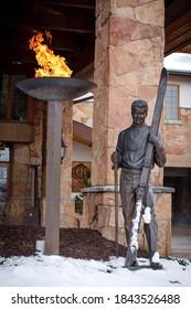 PARK CITY, UT - OCTOBER 29, 2020: The entrance to the Stein Eriksen Lodge resort in Deer Valley, Utah.