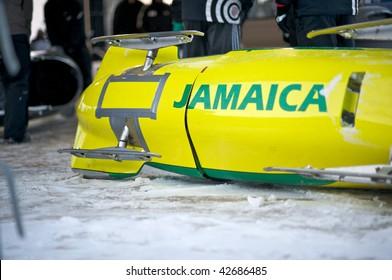 PARK CITY UTAH -  DECEMBER 5: Team Jamaica's bobsled is being prepared prior to their run at  the America's Cup Bobsled Races in Park City  December 5, 2009 in Park City, Utah.