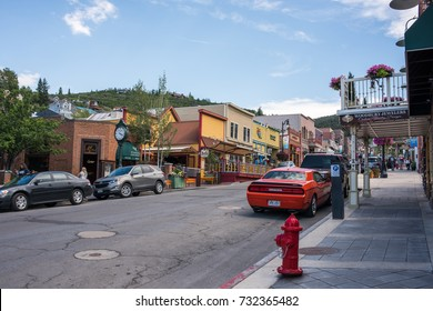 Park City, Utah: July 31, 2017: Park City, Utah.  Park City, Utah has two ski lodges and is also home of the Sundance Film Festival.