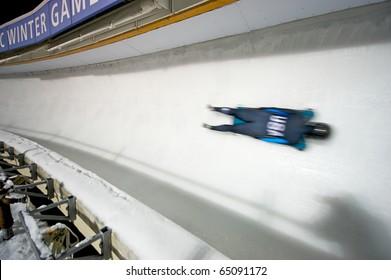 PARK CITY, UTAH - NOVEMBER 9: An unidentified athlete takes a practice run in preparation for Americas Cup Skeleton race on Nov. 9, 2010 in Park City, Utah.