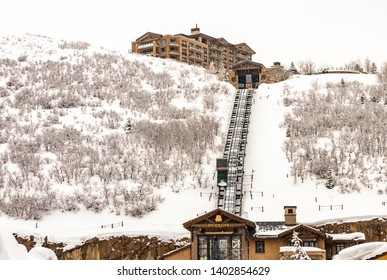 Park City, Utah, USA - 3 March 2019. The St. Regis Hotel, a ski-in resort with a funicular in Deer Valley, Utah.