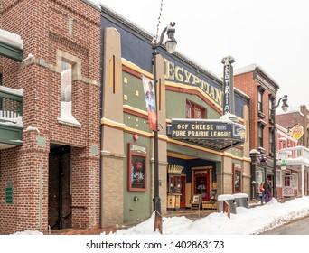 Park City, Utah, USA - 3 March 2019. The Egyptian Theatre in winter, home of the Sundance Film Festival, Main Stree, Park City, UT.
