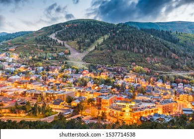 Park City, Utah, USA downtown in autumn at dusk.
