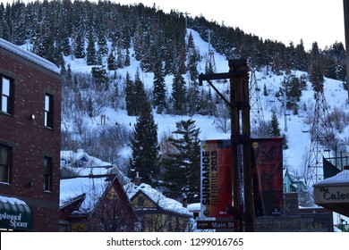 Park City, Utah / U.S.A. - January 27th 2019: Sundance Film Festival view of mountain from Main Street downtown Park City