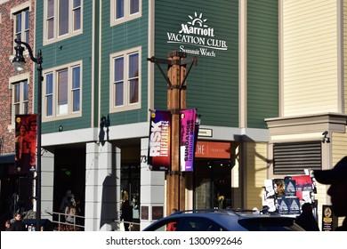 Park City, Utah / U.S.A. - January 27th 2019: Marriott Vacation Club Summit Watch on Historic Main Street during Sundance Film Festival 2019