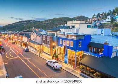 Park City, Utah, USA town skyline over Main Street at twilight.
