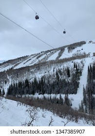 Park City, Utah/USA - 3/9/19: Quicksilver Gondola at Park City Mountain Resort on a Cold Cloudy Day