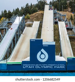 Park City, Utah/USA - Oct. 6,2018: practice ramps for freestyle skiers at Utah Olympic Park