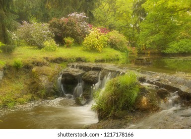 Park with color flowers and flying water in the brook, version with a soft filter