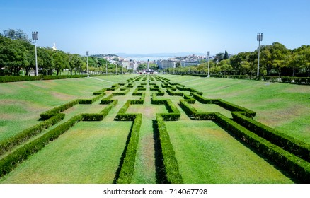 Park Eduardo VII, hedges like a labyrinth, Lisbon, Portugal