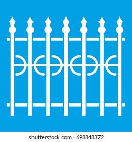 Park fence icon white isolated on blue background  illustration