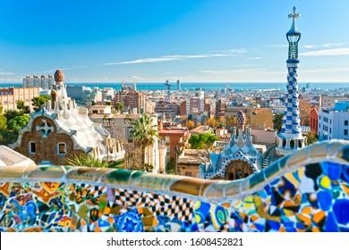 Park Guell in Barcelona, Spain. Focus on city skyline