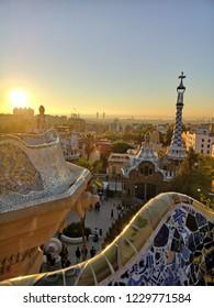 Park guell Barcelona Spain sunrise