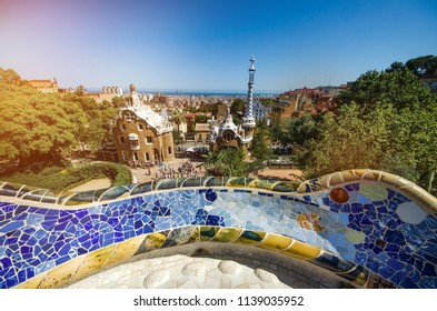 Park guell colors view in Barcelona, Spain.