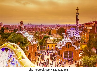 Park Guell designed by Antonio Gaudi, Barcelona, Spain, toned