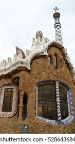 Park Guell of on rainy days in Barcelona, Spain