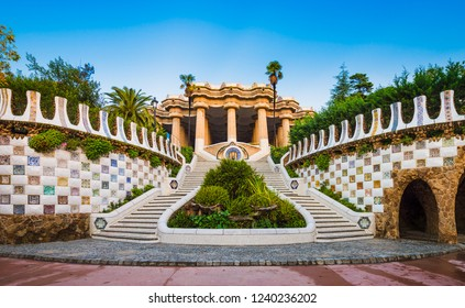 Park Guell staircase in Barcelona, Spain