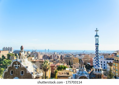 park guell tourist attractions in Barcelona Spain.