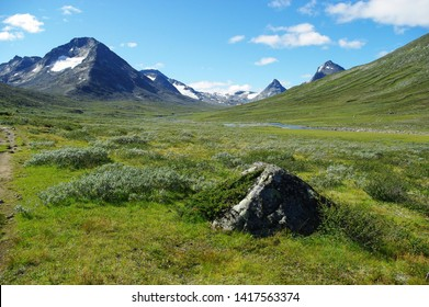 Park Jotunheimen. Mountain valley illuminated by the sun. Grassy slope and stone peaks. On the front plate there is a pyramid stone with a juniper bush on its face