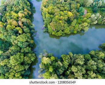Park and lake in Draveil, Essonne, Ile-de-france, France