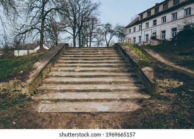 Park landscape. Stone paved stairs in park