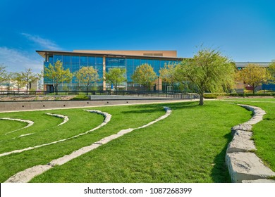Park Lawn with Stone Bench