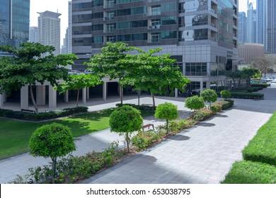 Park in a modern city